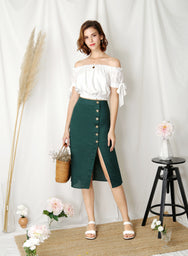 Wonder Linen Midi Skirt (Forest) at $ 38.00 only sold at And Well Dressed Online Fashion Store Singapore