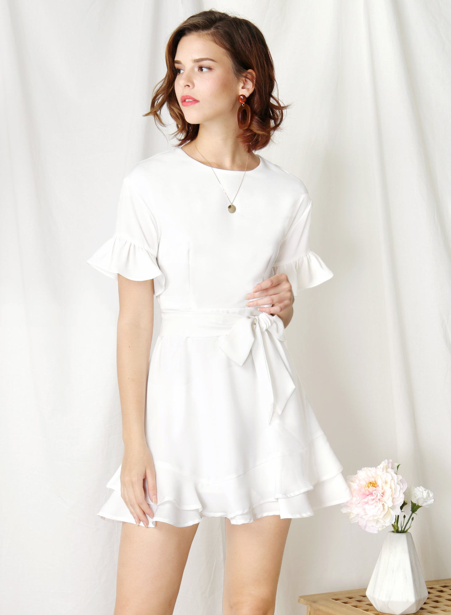 Daylight Ruffle Edge Dress (White) at $ 43.50 only sold at And Well Dressed Online Fashion Store Singapore