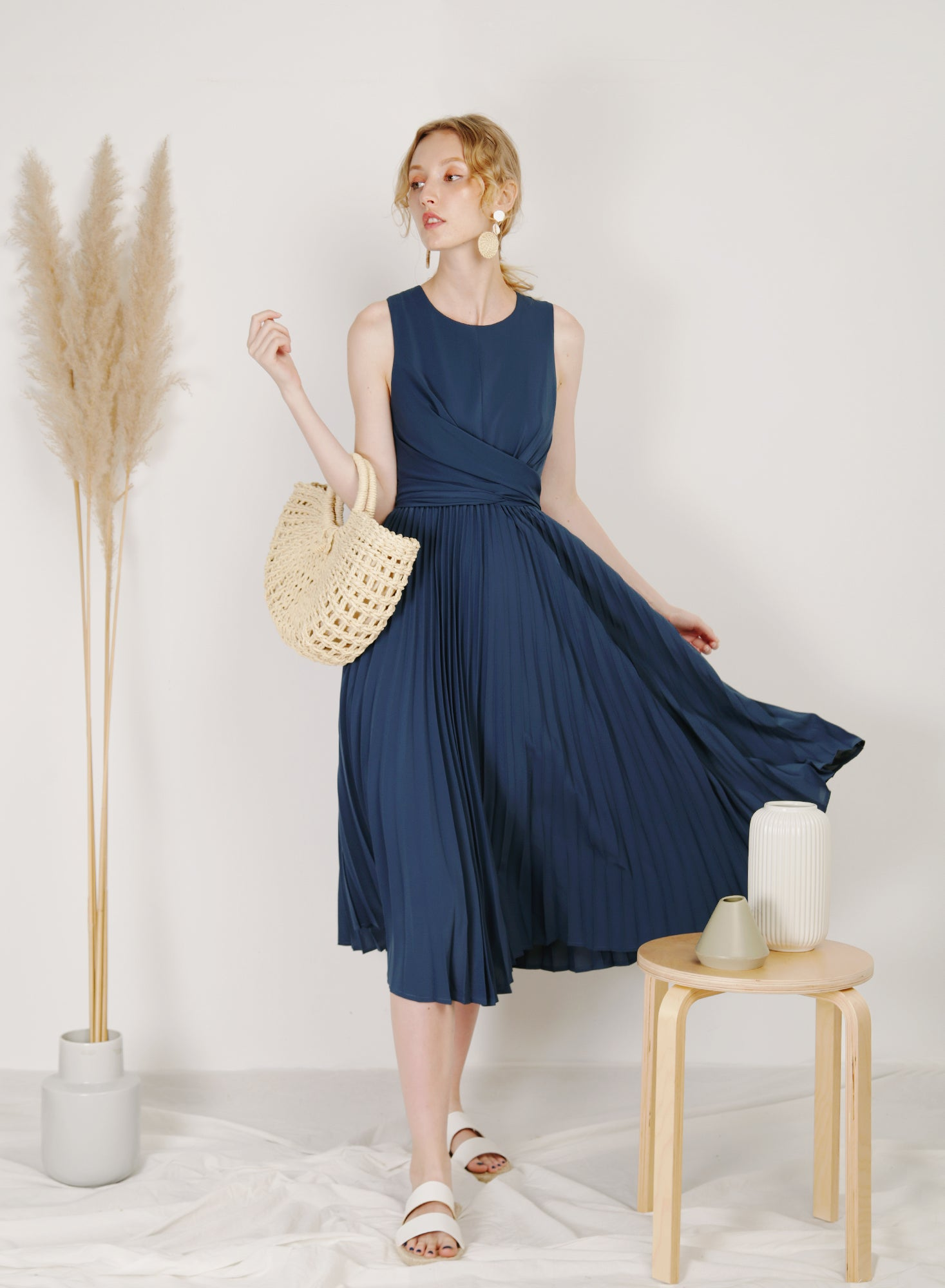 DIVINE Wrap Front Pleated Dress (Blueberry)