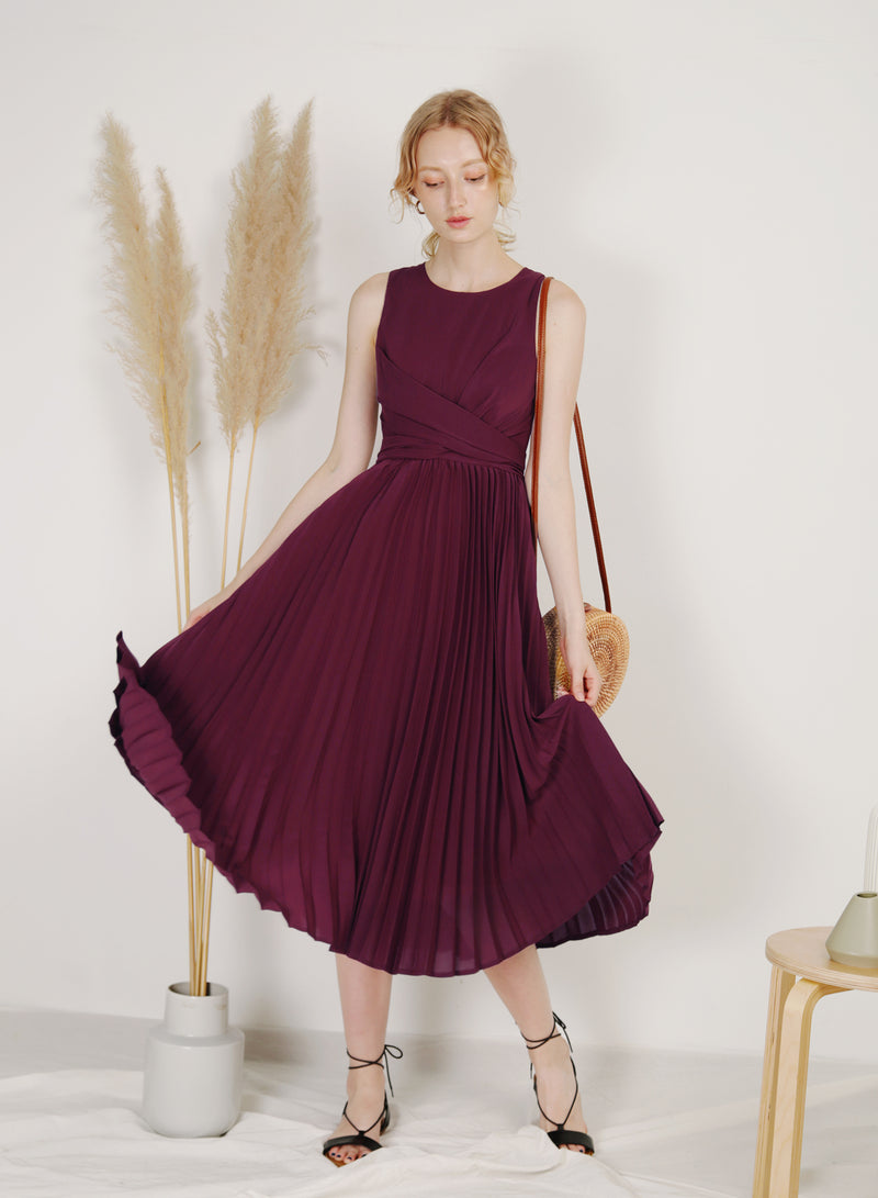 DIVINE Wrap Front Pleated Dress (Plum)