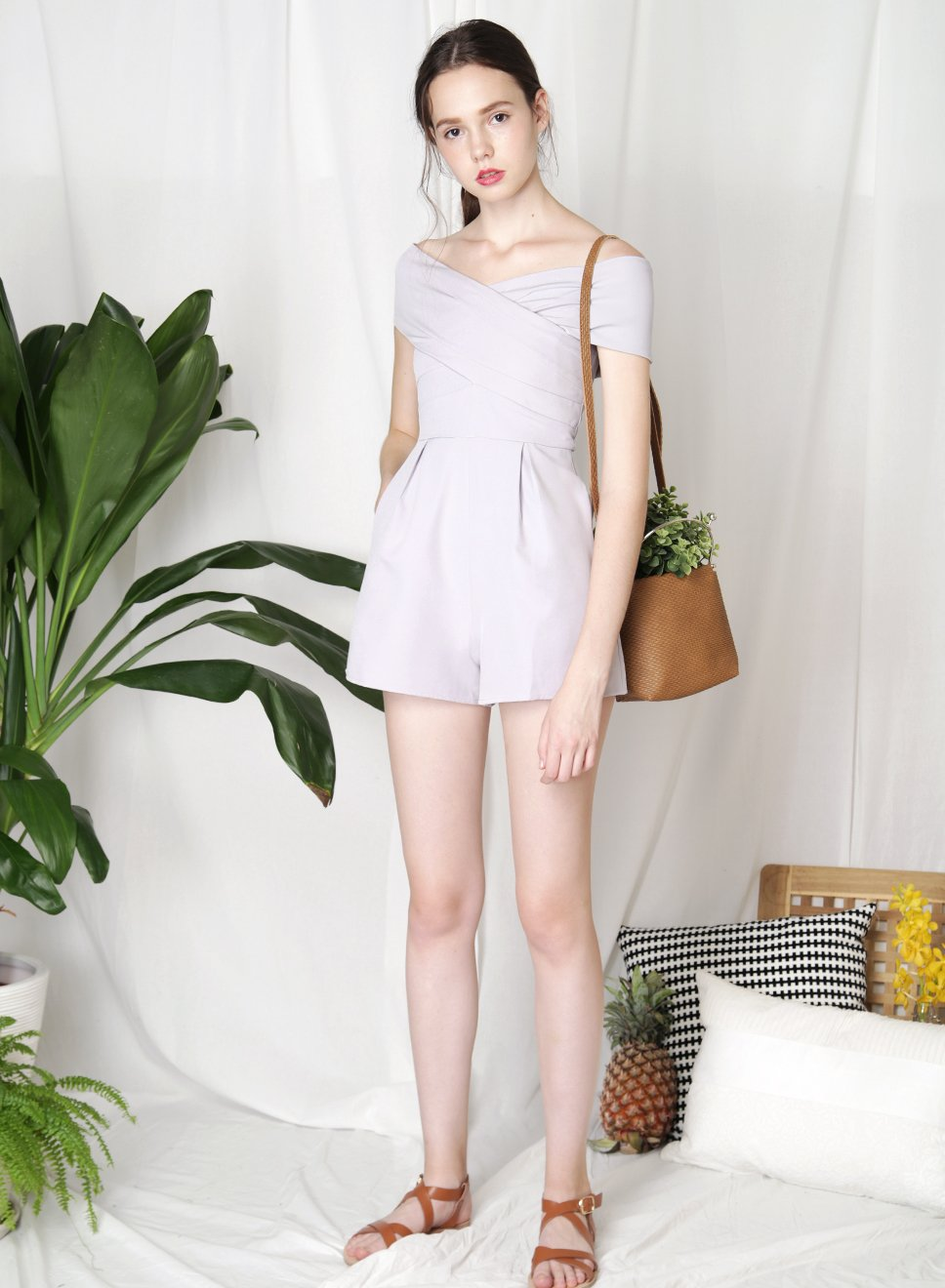 PERCEPTION Cross Front Romper (Lilac Grey) - And Well Dressed