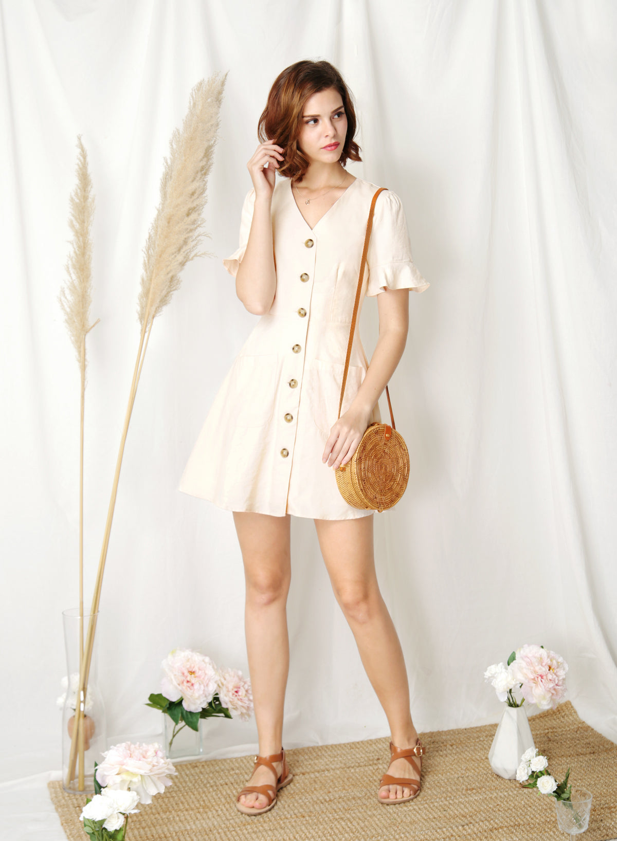 BACKORDER: Destiny Button Down Flared Dress (Apricot) at $ 43.50 only sold at And Well Dressed Online Fashion Store Singapore