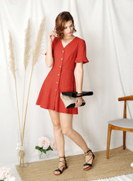 Destiny Button Down Flared Dress (Rust) at $ 43.50 only sold at And Well Dressed Online Fashion Store Singapore