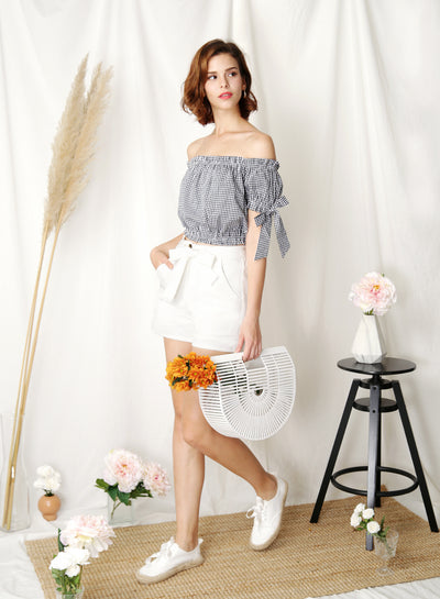 Folklore Off Shoulder Top (Navy Gingham) - And Well Dressed