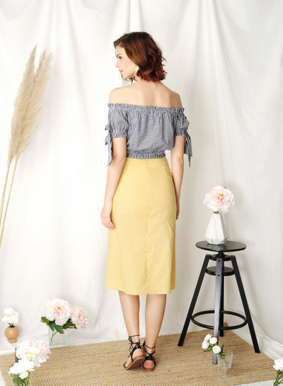 Folklore Off Shoulder Top (Navy Gingham) at $ 35.50 only sold at And Well Dressed Online Fashion Store Singapore
