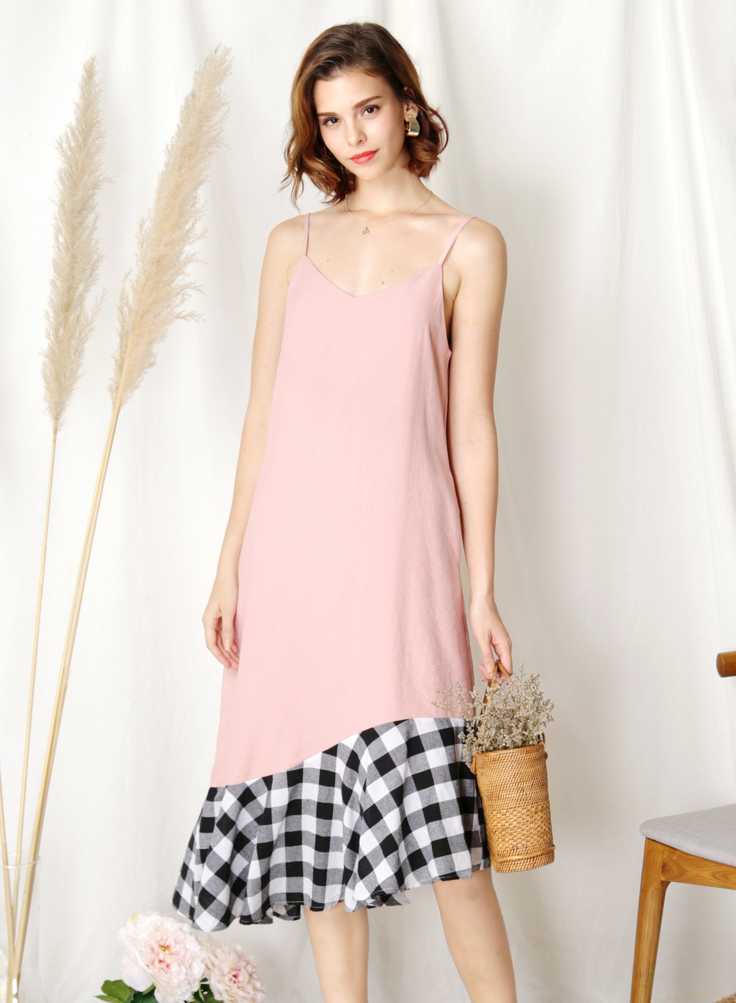 Sidelines Contrast Hem Maxi Dress (Pink/Black) - And Well Dressed