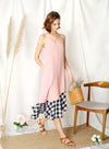 Sidelines Contrast Hem Maxi Dress (Pink/Black)