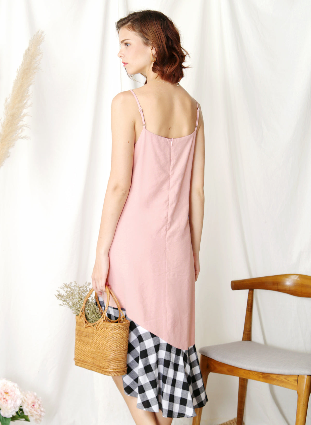 Sidelines Contrast Hem Maxi Dress (Pink/Black) at $ 45.00 only sold at And Well Dressed Online Fashion Store Singapore
