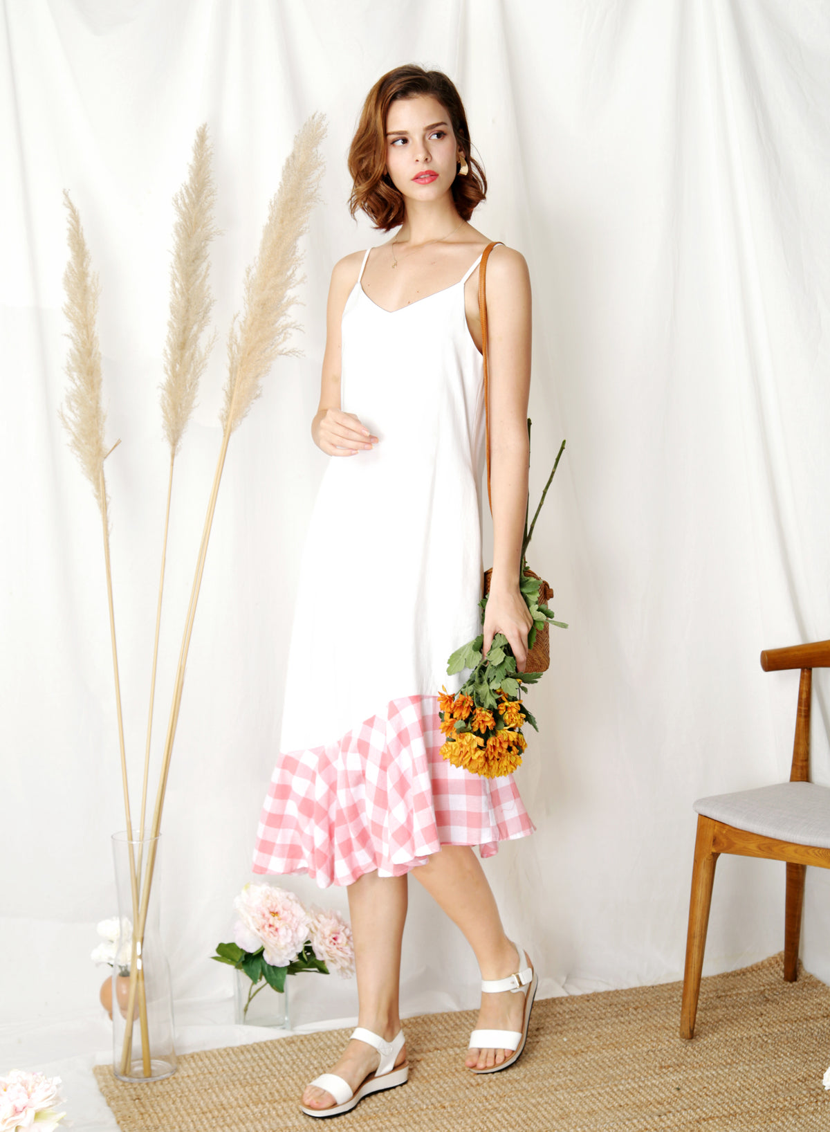 Sidelines Contrast Hem Maxi Dress (White/Pink) - And Well Dressed