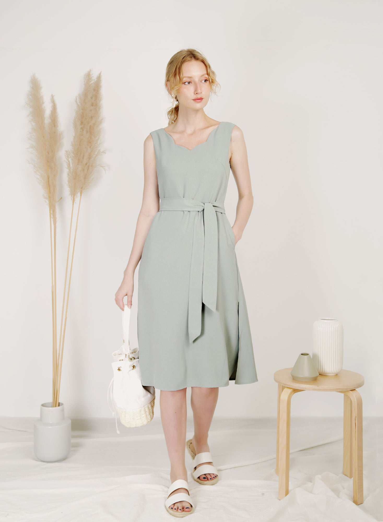 Reflection Scalloped Neckline Dress (Sage)