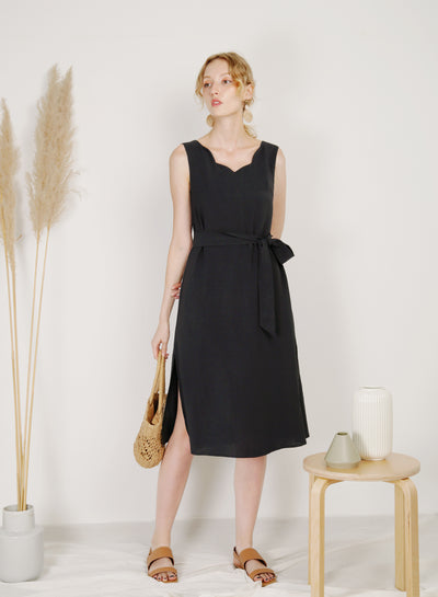 Reflection Scalloped Neckline Dress (Black)