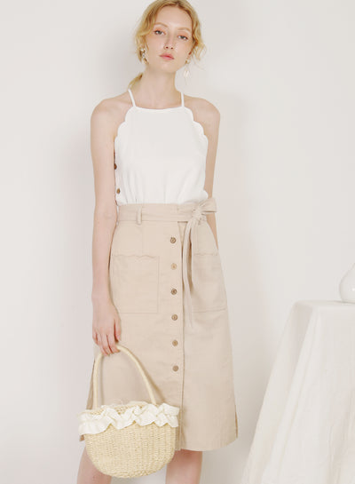 Shore Scalloped Pockets Linen Skirt (Oat)