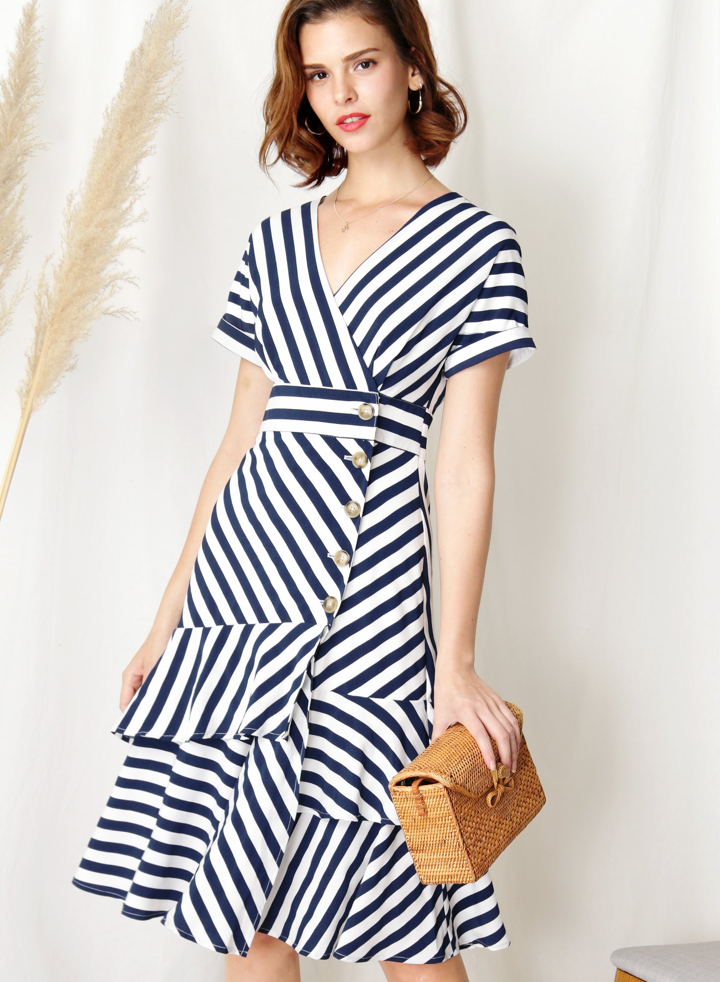 Harbour Tiered Hem Midi Dress (Navy Stripes)