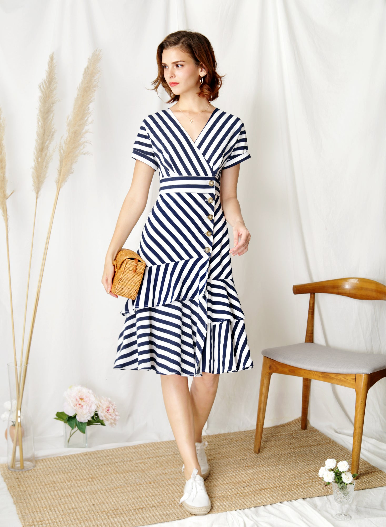 Harbour Tiered Hem Midi Dress (Navy Stripes) at $ 45.00 only sold at And Well Dressed Online Fashion Store Singapore