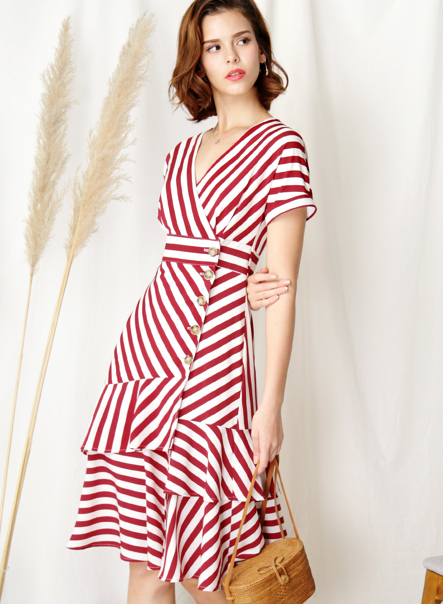 Harbour Tiered Hem Midi Dress (Red Stripes)
