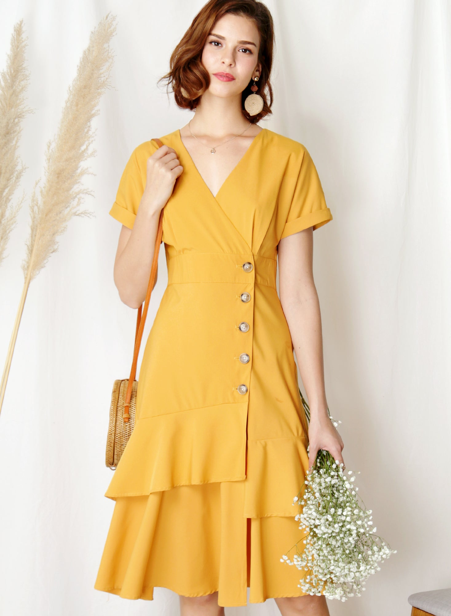 Harbour Tiered Hem Midi Dress (Marigold) at $ 45.00 only sold at And Well Dressed Online Fashion Store Singapore