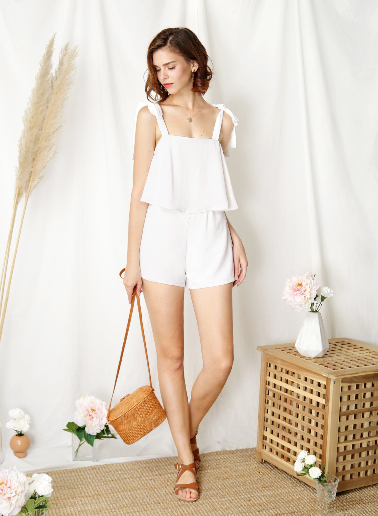 Adventure Tie Shoulders Romper (White) at $ 41.50 only sold at And Well Dressed Online Fashion Store Singapore