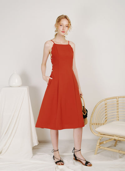 Coast Scalloped Edge Buttoned Dress (Rust)