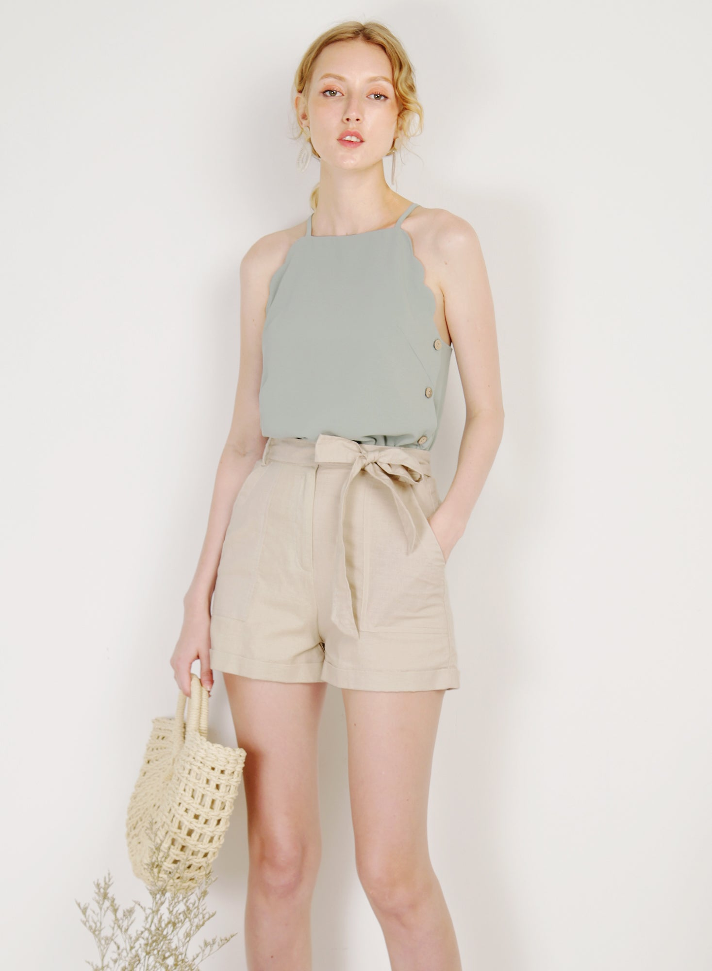 Crest Scalloped Edge Buttoned Top (Sage)
