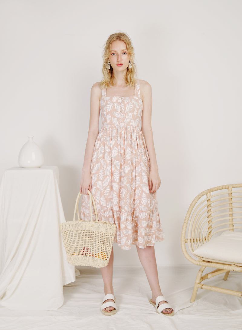 Freedom Button Front Midi Dress (Peach)