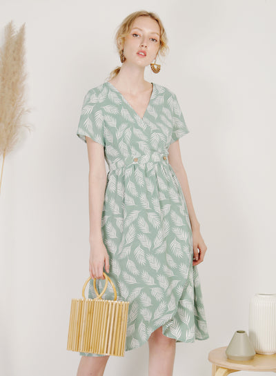 Ripple Double Button Wrap Dress (Sage)