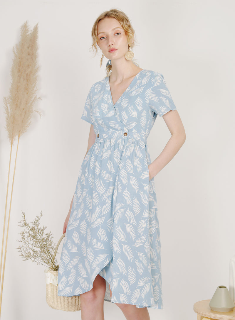 Ripple Double Button Wrap Dress (Sky)