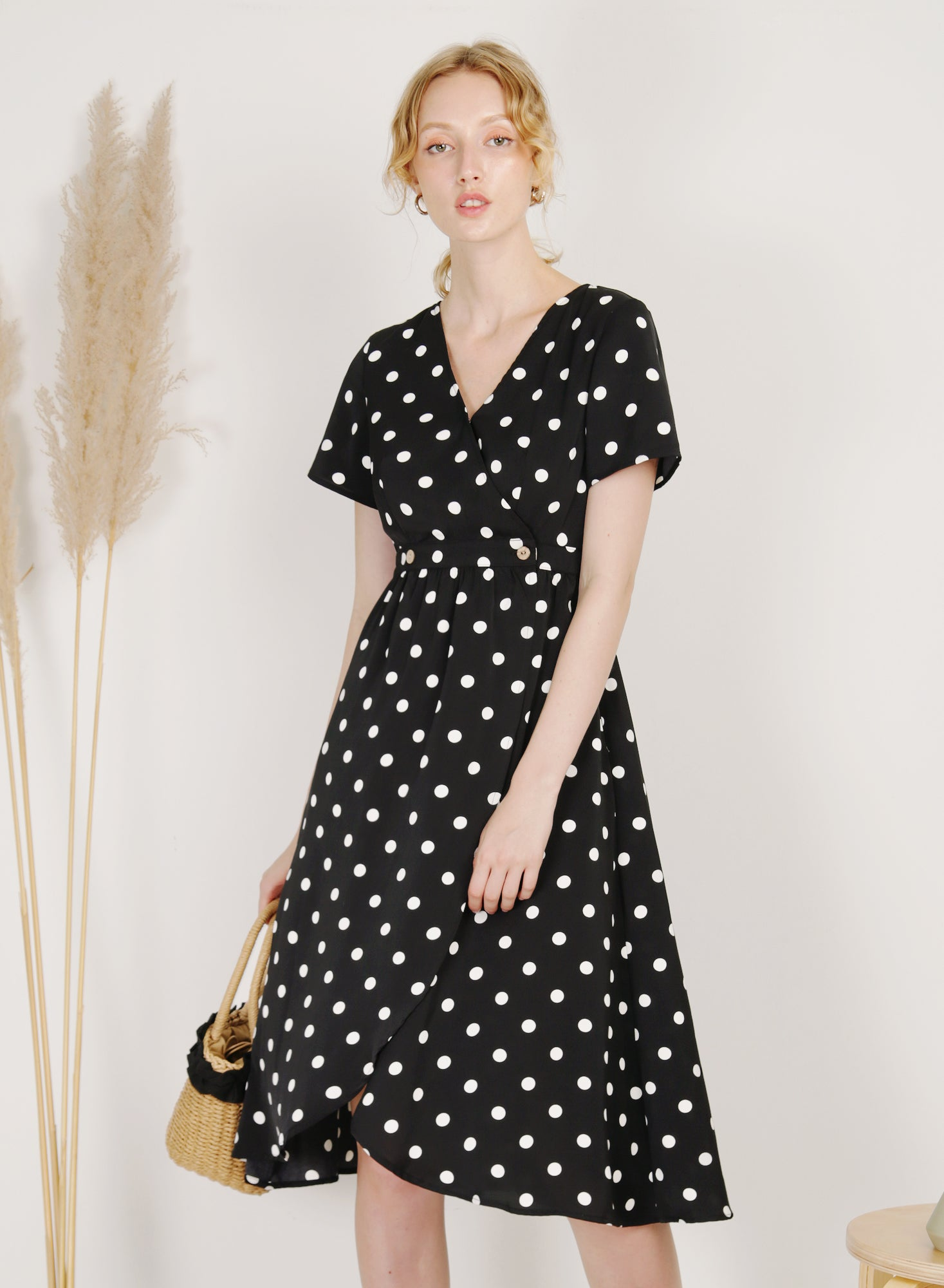 Ripple Double Button Wrap Dress (Polka Dot)