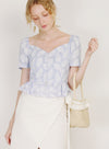 Carnival Button Down Peplum Top (Periwinkle)