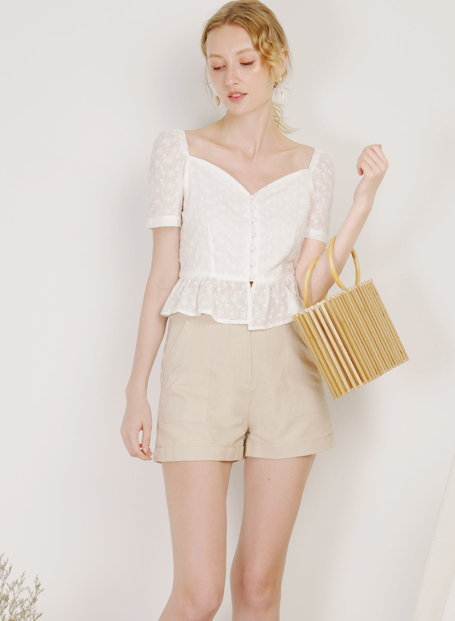 Carnival Button Down Peplum Top (Eyelet)