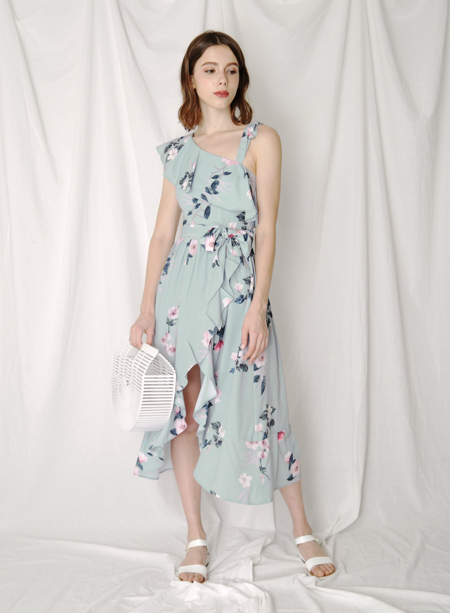 Bespoke Ruffled Floral Maxi Dress (Jade) at $ 45.00 only sold at And Well Dressed Online Fashion Store Singapore