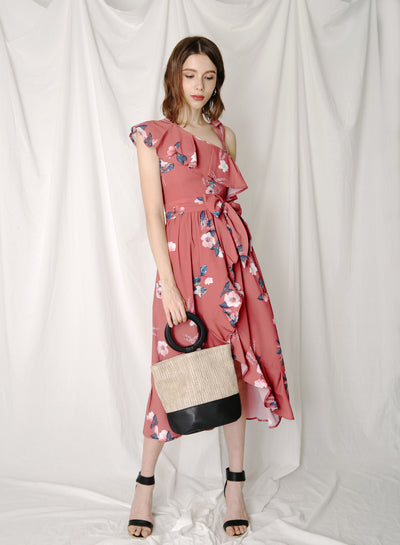 Bespoke Ruffled Floral Maxi Dress (Rosewood) at $ 45.00 only sold at And Well Dressed Online Fashion Store Singapore