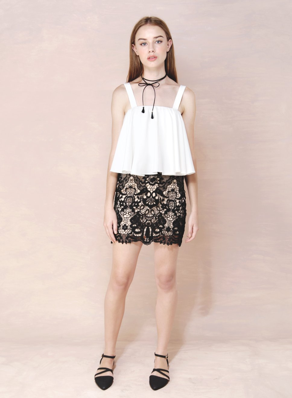 LUCID Crochet Lace Fitted Skirt (Black) at $ 20.50 only sold at And Well Dressed Online Fashion Store Singapore