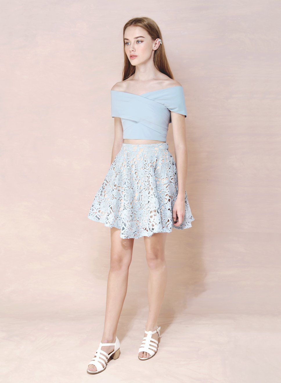FACADE Crochet Flare Skirt (Sky) at $ 21.50 only sold at And Well Dressed Online Fashion Store Singapore