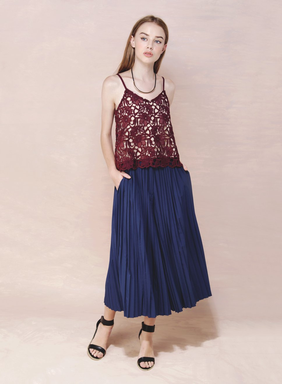 ELEMENT Floral Crochet Top (Wine) at $ 20.50 only sold at And Well Dressed Online Fashion Store Singapore