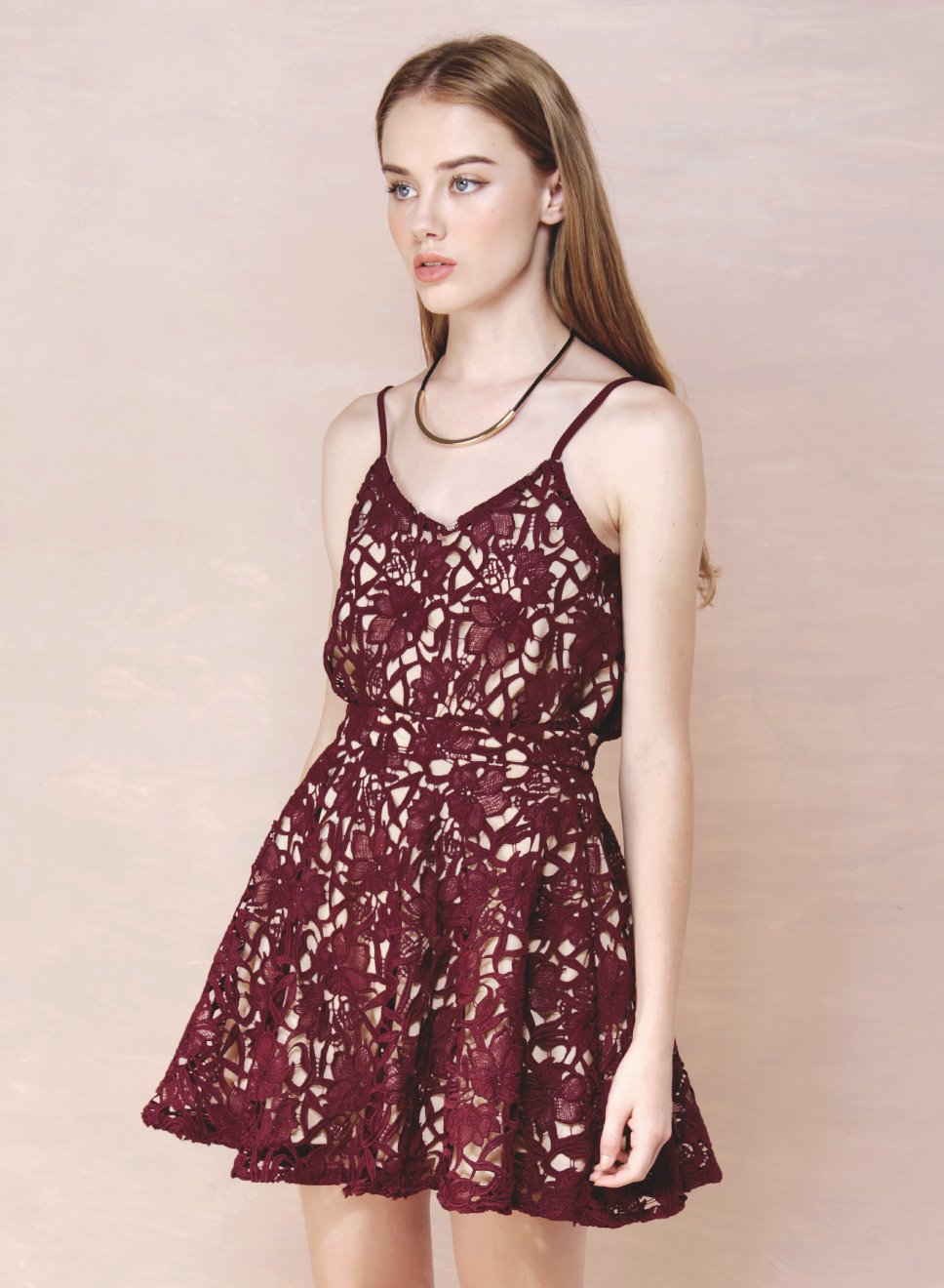 FACADE Crochet Flare Skirt (Wine) at $ 21.50 only sold at And Well Dressed Online Fashion Store Singapore