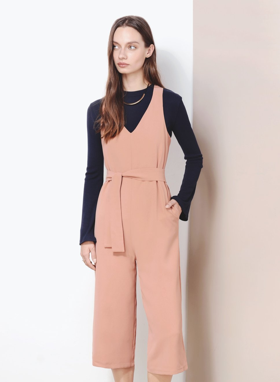STANDSTILL Cross Back Jumpsuit (Apricot) - And Well Dressed