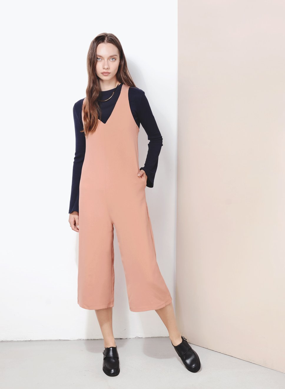 STANDSTILL Cross Back Jumpsuit (Apricot) at $ 22.50 only sold at And Well Dressed Online Fashion Store Singapore