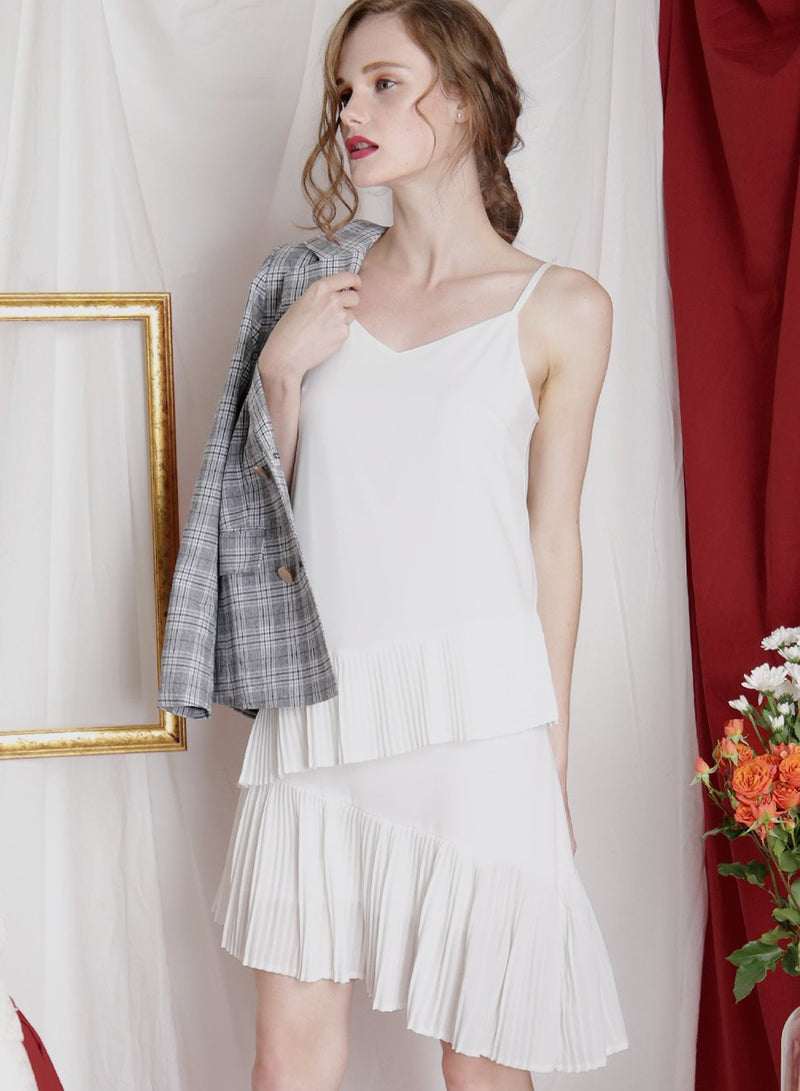 CRESCENDO Asymmetric Pleats Dress (White) at $ 24.90 only sold at And Well Dressed Online Fashion Store Singapore