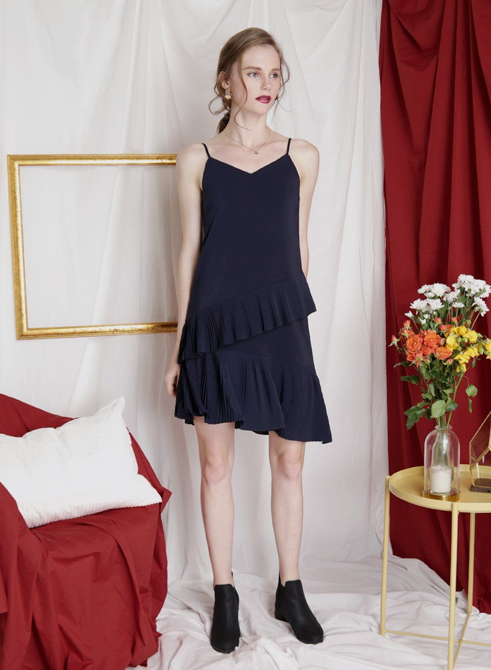 CRESCENDO Asymmetric Pleats Dress (Navy) - And Well Dressed