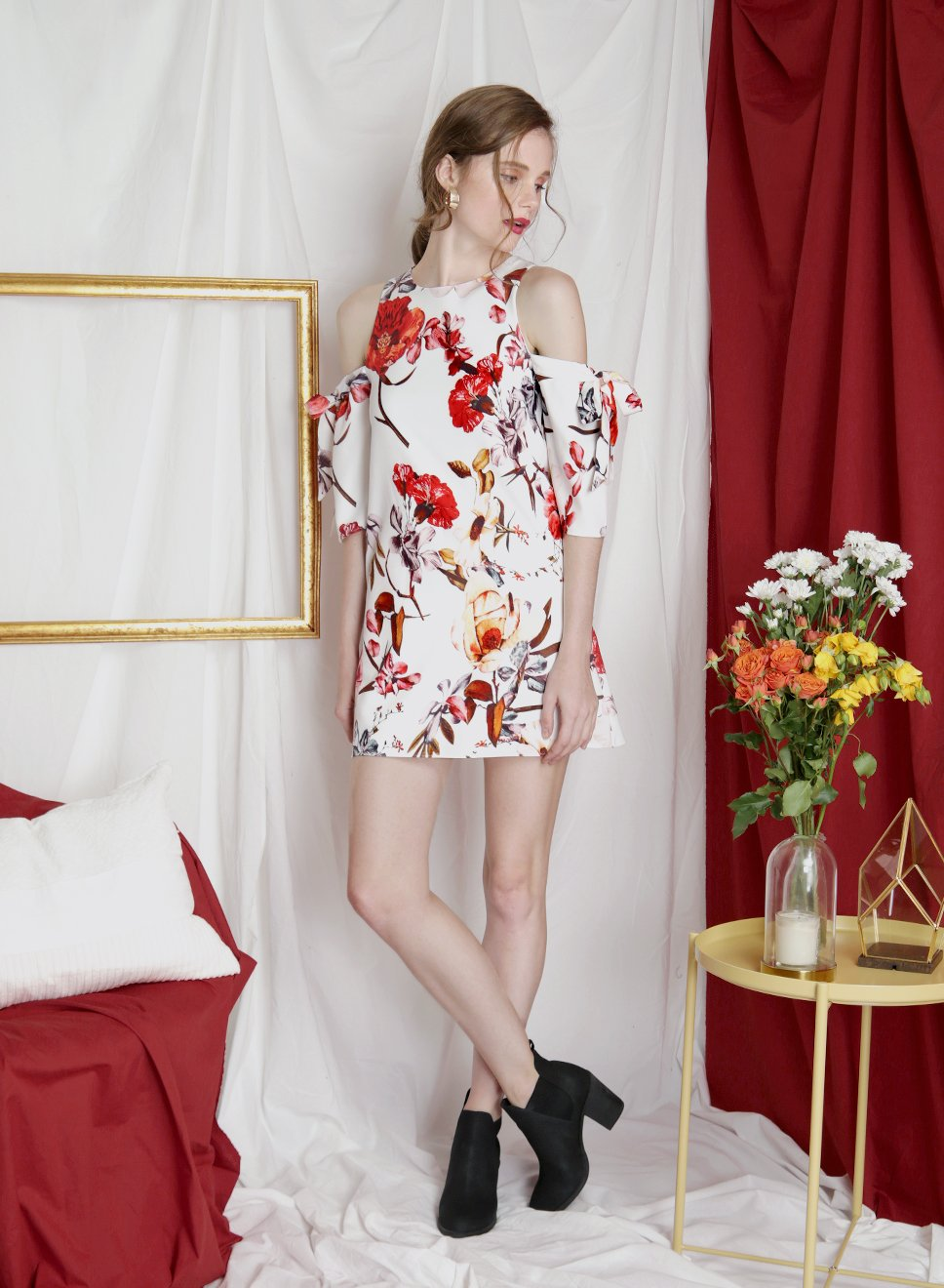 TRANSCEND Cold Shoulder Floral Dress (White) at $ 29.90 only sold at And Well Dressed Online Fashion Store Singapore