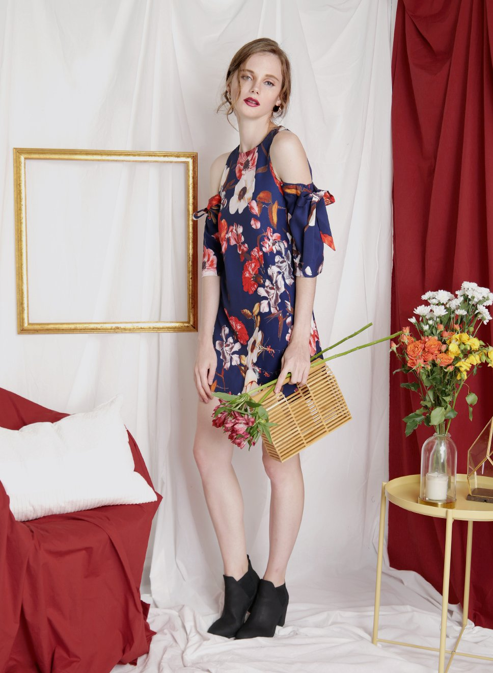 TRANSCEND Cold Shoulder Floral Dress (Navy) at $ 31.50 only sold at And Well Dressed Online Fashion Store Singapore