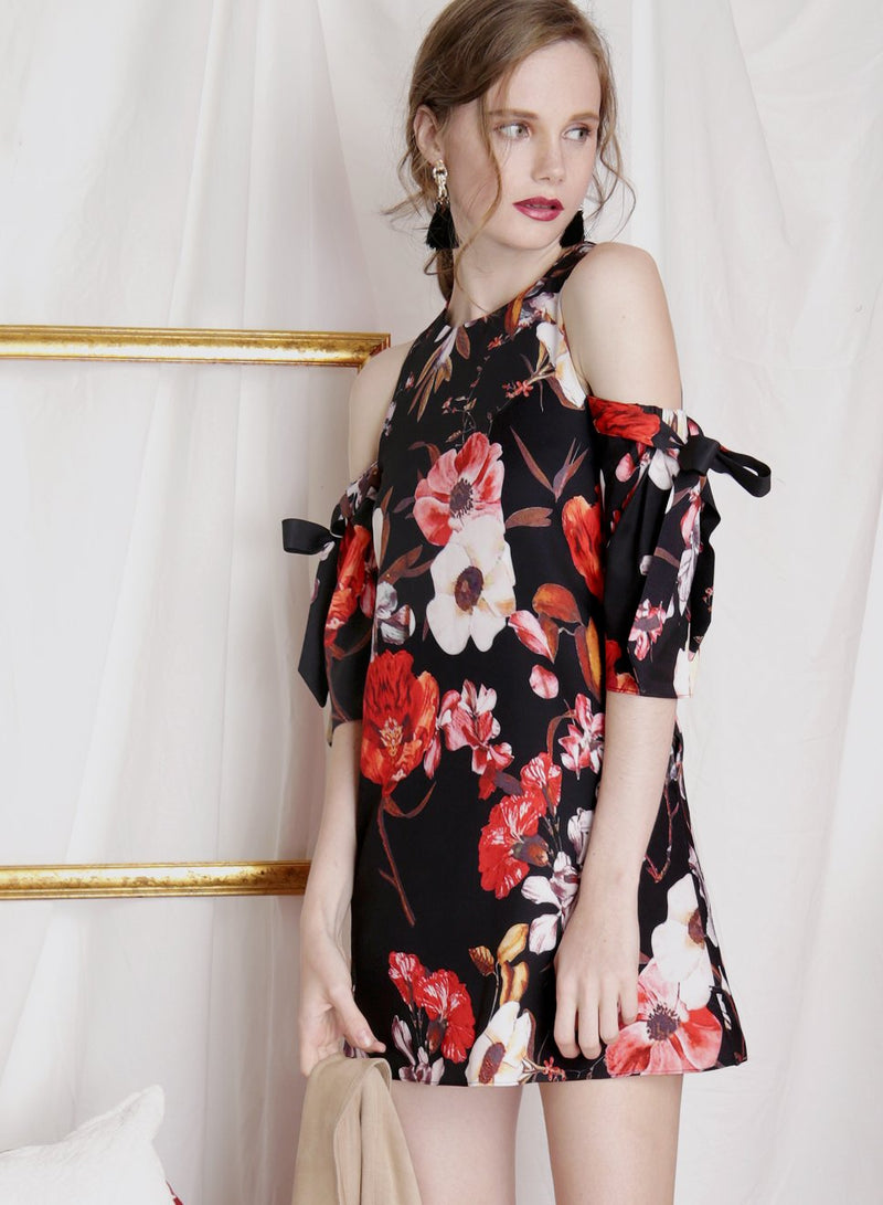 TRANSCEND Cold Shoulder Floral Dress (Black) at $ 24.90 only sold at And Well Dressed Online Fashion Store Singapore