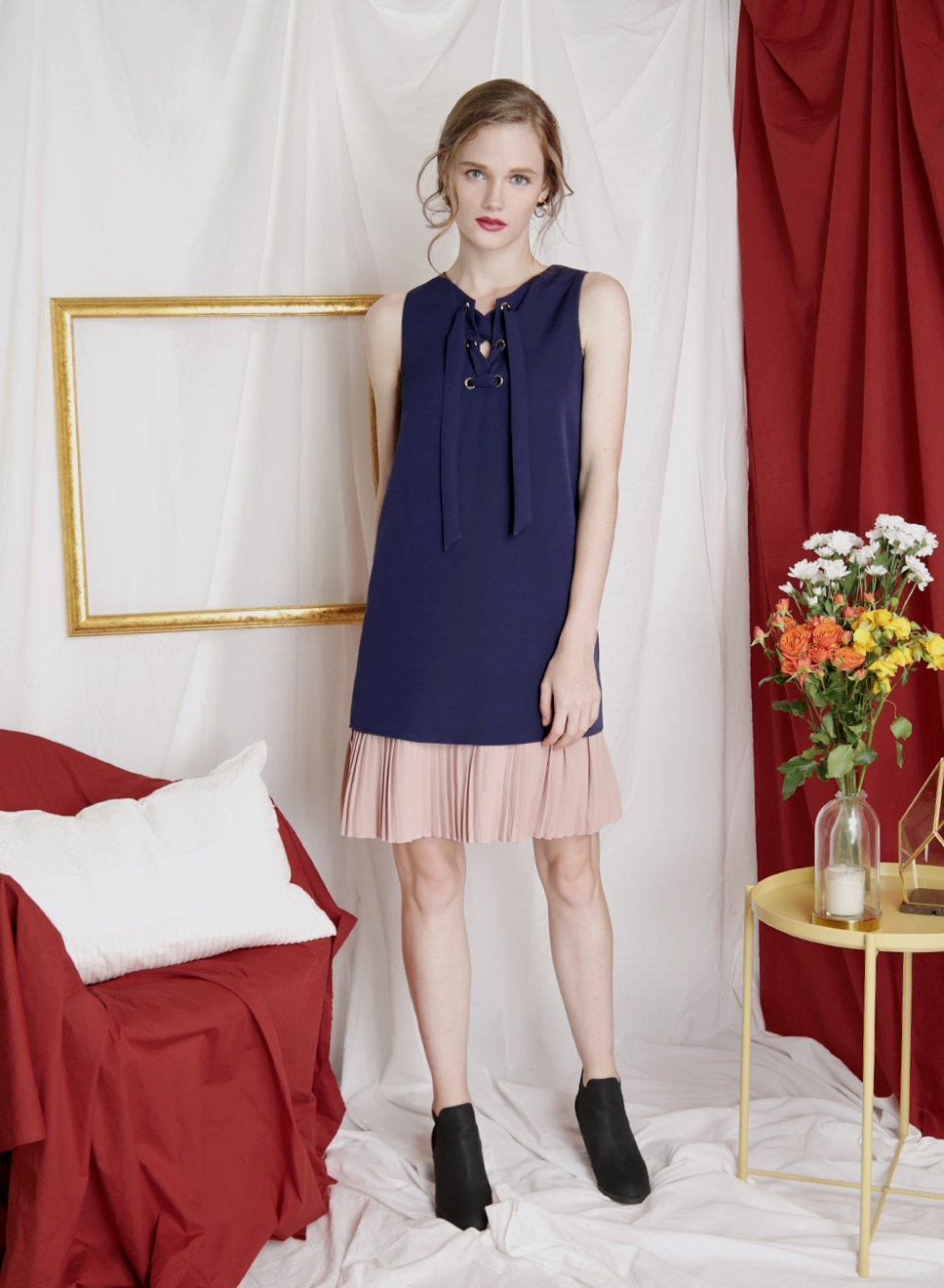 ESCAPE Lace Up Duo Tone Dress (Navy) at $ 41.50 only sold at And Well Dressed Online Fashion Store Singapore