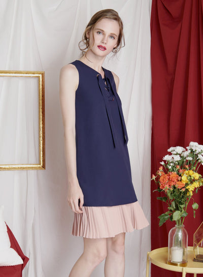 ESCAPE Lace Up Duo Tone Dress (Navy) - And Well Dressed