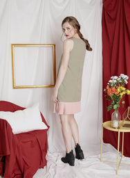 ESCAPE Lace Up Duo Tone Dress (Sage) at $ 41.50 only sold at And Well Dressed Online Fashion Store Singapore