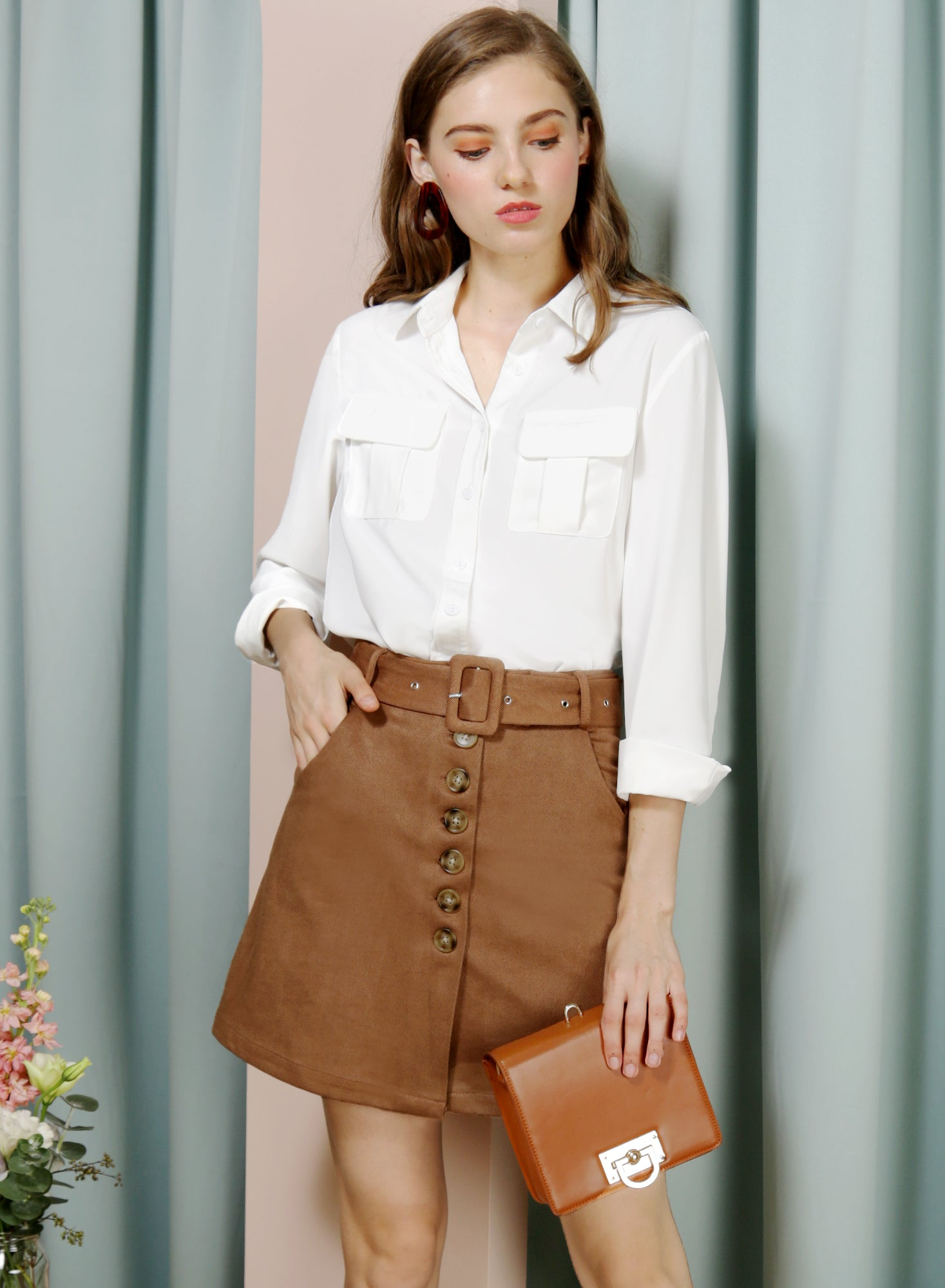 WAFT Double Pocket Shirt (White) at $ 36.00 only sold at And Well Dressed Online Fashion Store Singapore