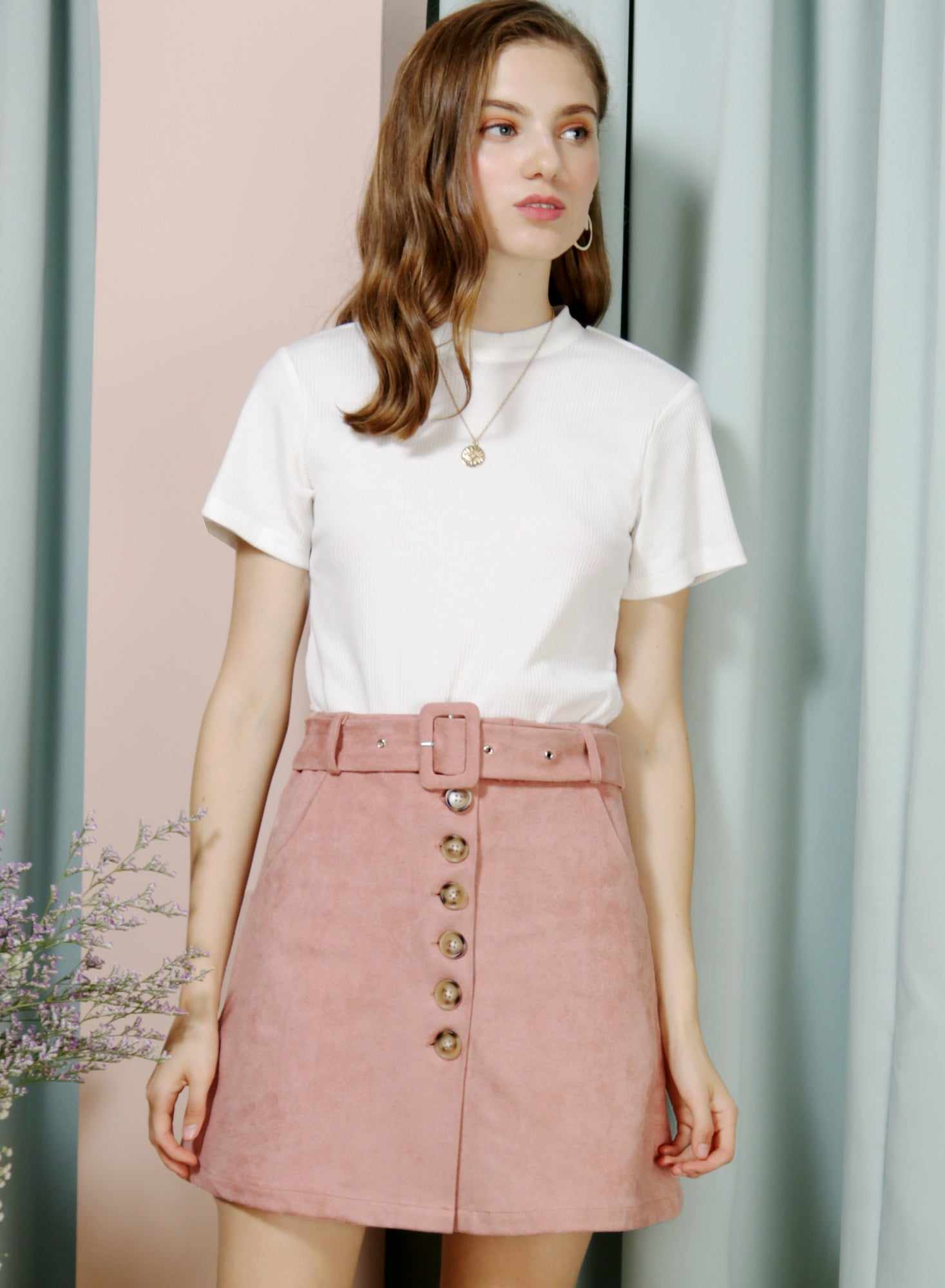 HOPE Button Front Suede Skirt (Rose)