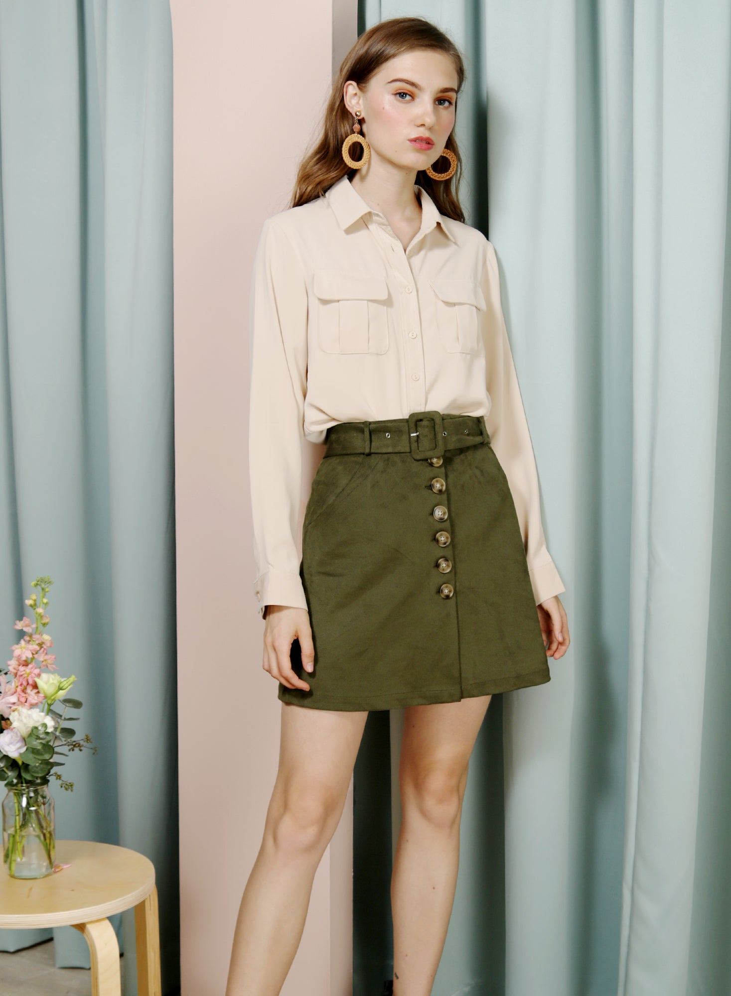 WAFT Double Pocket Shirt (Sand) at $ 36.00 only sold at And Well Dressed Online Fashion Store Singapore