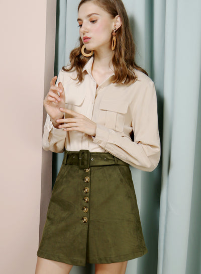WAFT Double Pocket Shirt (Sand) - And Well Dressed