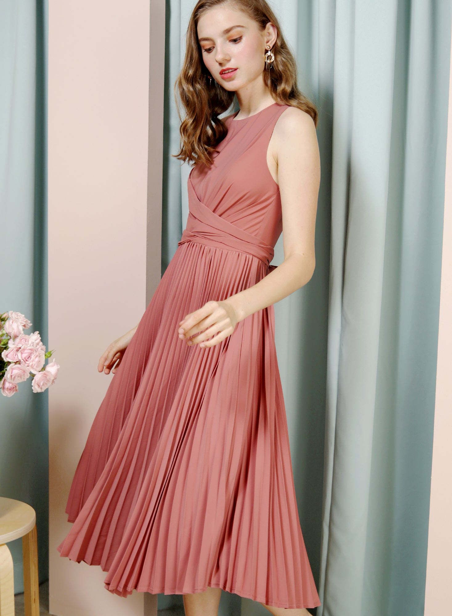 DIVINE Wrap Front Pleated Dress (Rose) at $ 46.50 only sold at And Well Dressed Online Fashion Store Singapore